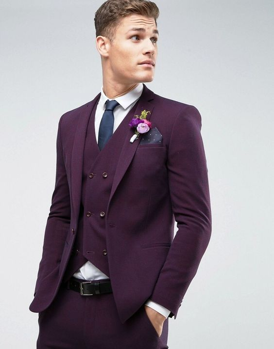 21255be3195 2017 Latest Coat Pant Designs Purple Wedding Suits for Men Slim Fit 3 Piece  Tuxedo Custom Groom Suit Prom Blazer Terno Masculino