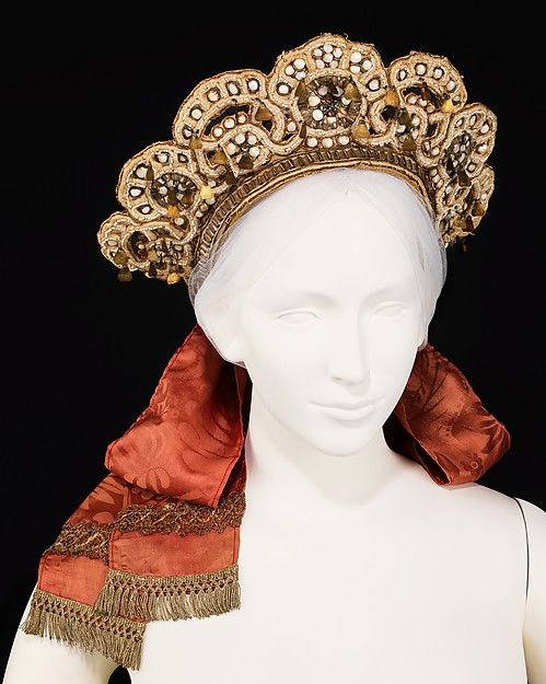 Wedding headdress Date: late 19th century Culture: Russian Medium: paper, metal, mother-of-pearl, glass, silk, cotton.
