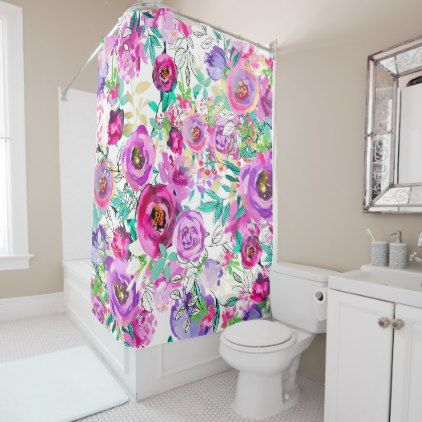 Delightful Purple Pink Bright Colorful Chic Modern Floral Shower Curtain   Rustic  Gifts Ideas Customize Personalize