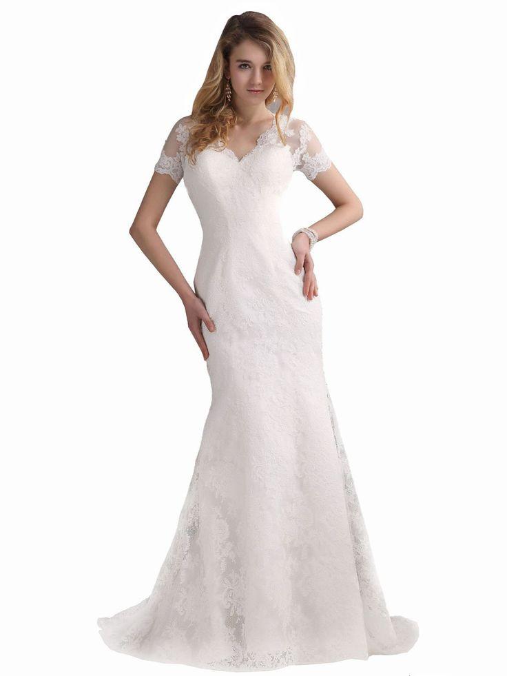 Lemandy robe de mariée sirène dentelle col en V manches courtes ...