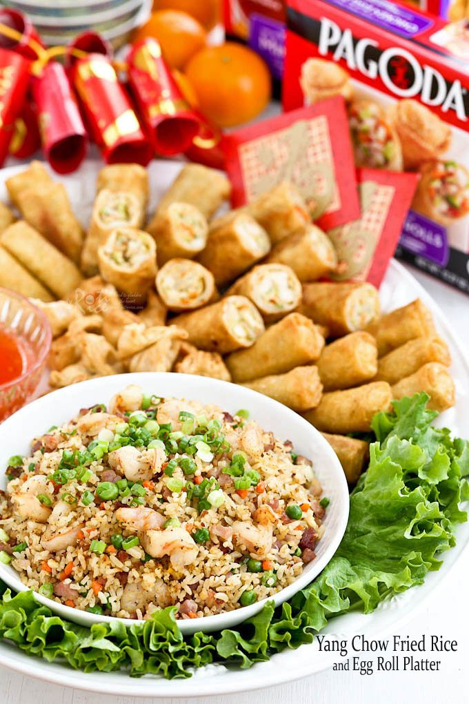 Yang Chow Fried Rice, a popular fried rice cooked with ham, shrimps, carrots, green peas, and eggs. Delicious served with Pagoda eggrolls. | RotiNRice.com