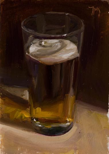 Daily painting of Glass of beer. Julian Merrow Smith