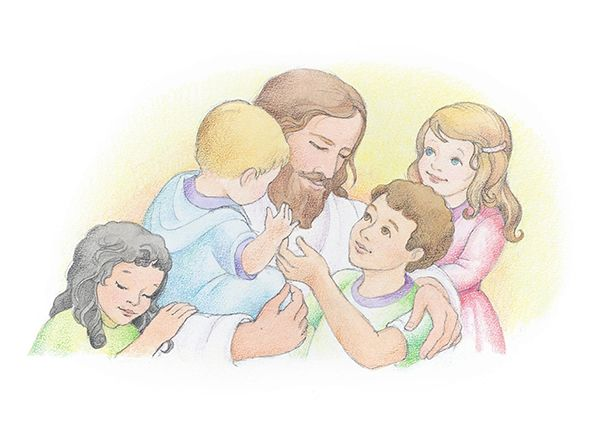 Jesus hugging four children. From the Children's Songbook ...