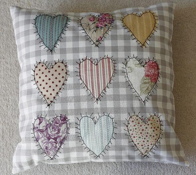 Thread sketch heart cushion by jillyspoon, via Flickr