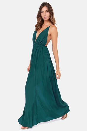 Sexy Dark Teal Dress - Maxi Dress - Backless Dress - $45.00