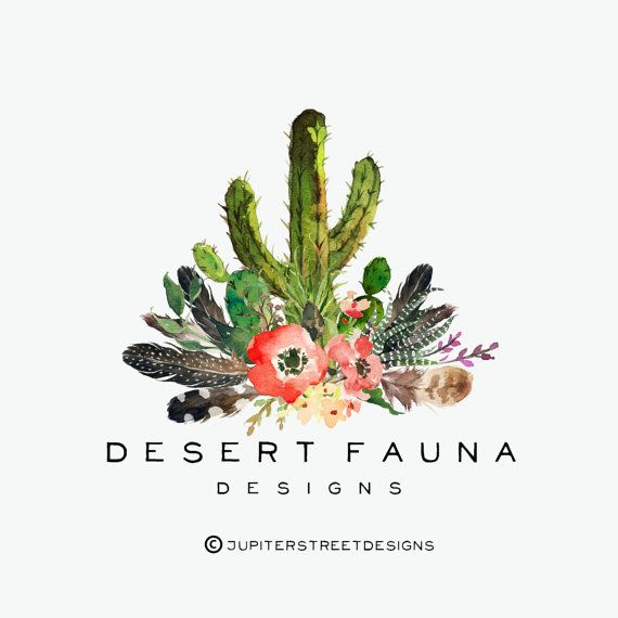 Logo Design-Cactus Logo-Feather by JupiterStreetDesigns on Etsy