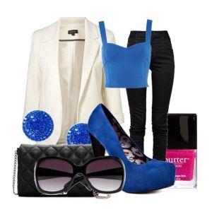 С чем носить синие туфли: ярко-синие туфли и черные джинсы