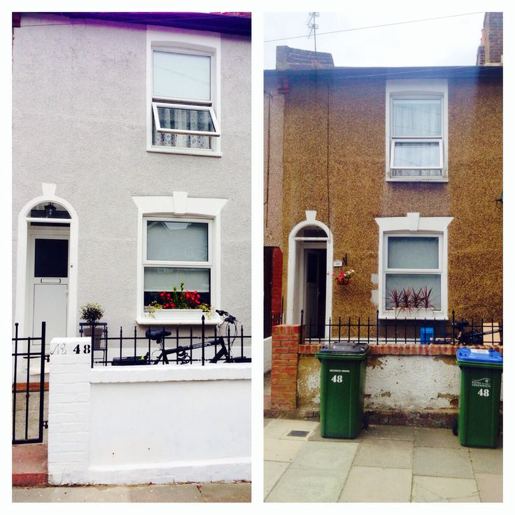 Before and After masonry paint Farrow and Ball Cornforth White