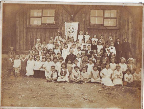 Vintage Photo  Priest with children  Priest photo  Children