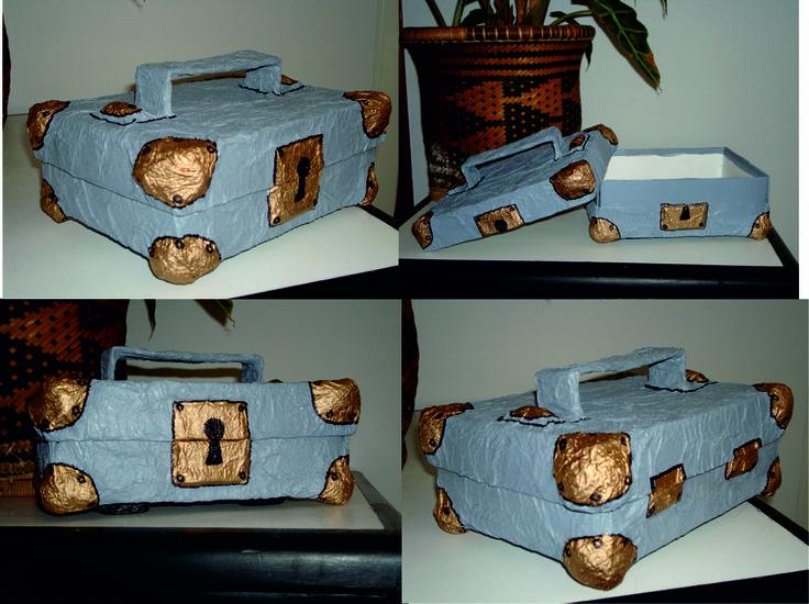 Caja de zapatos convertida en maleta realizada con papel - Manualidades con cajas de zapatos ...