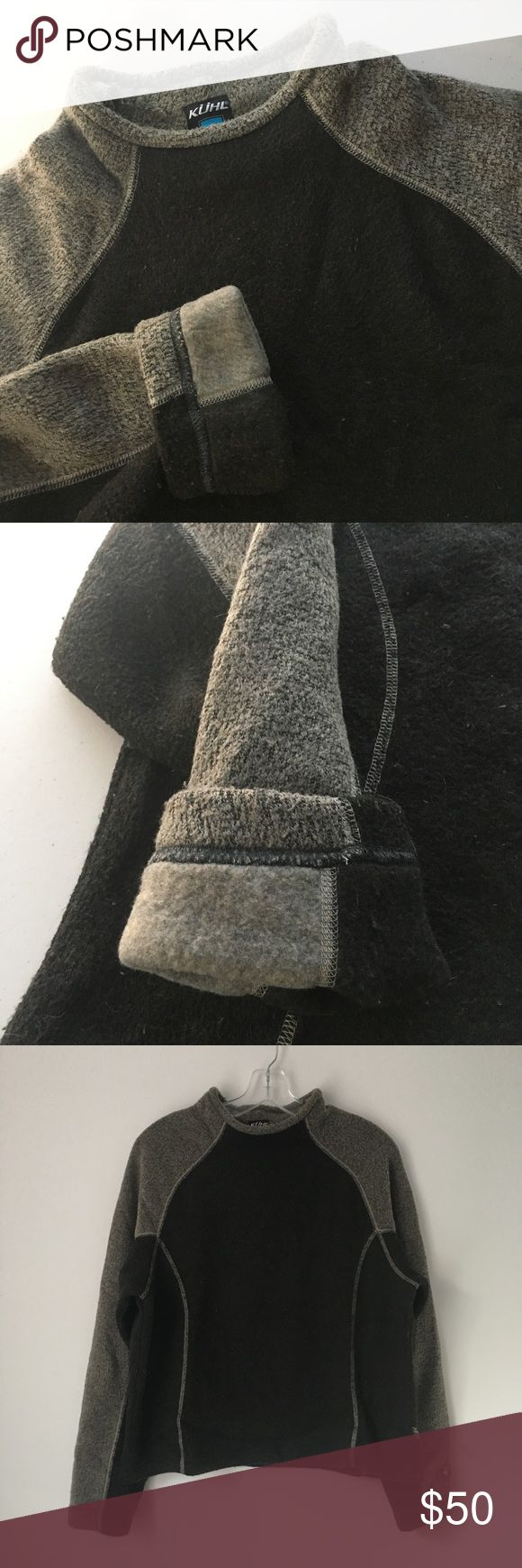 "RARE ULTRA SOFT FLEECE SWEATER SWEATSHIRT PULLOVER GORGEOUS RARE Vtg Vintage KUHL Dark Neutral Two-Tone ULTRA SOFT Thick Fleece Knit High Mock Neck Turtleneck Pullover Sweater Sweatshirt Shirt Top Fall Autumn Winter Goth Punk Boho Grunge || Brand new || Never used || NO flaws. Natural/INTENTIONAL fuzzy+bobbled texture. || Size: Tagged as women's XL. (Could work for XS, Small, Medium, Large or XL depending on desired fit.) || Chest - 22.5"" across • Length (shoulder to bottom hem) - roughly…"