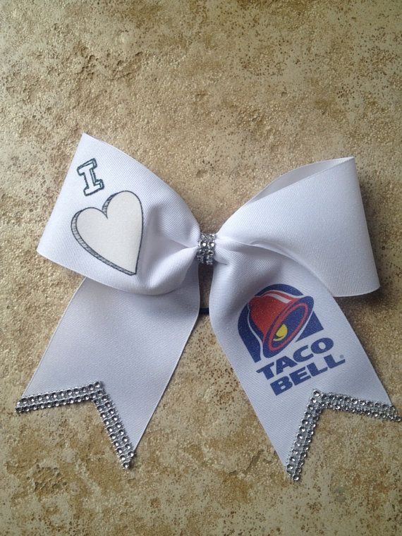 I Love Taco Bell Big Cheer Bow White by CharmingFeltedFinds