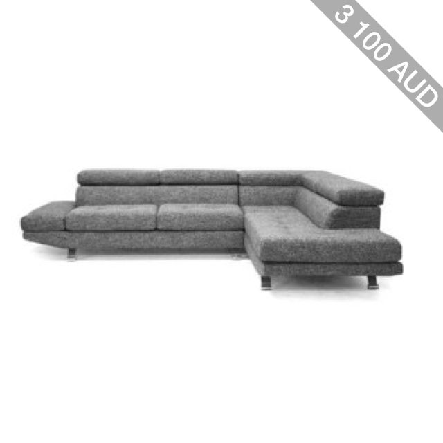 Baxton Studio Adelaide Gray Twill Fabric Modern Sectional Sofa with Right Facing Chaise