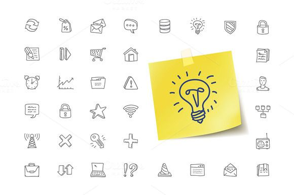 36 Technology Doodles Icons by vladut'shop on @creativemarket