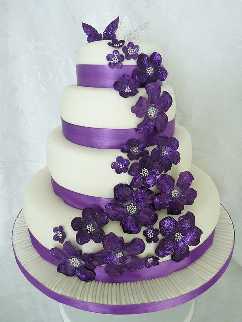 Wedding Cakes With Dark Purple Flowers Best Images About And White On