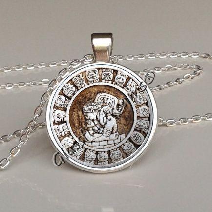 Mayan haab pendant,mayan haab calendar necklace,steampunk jewelry,aztec calendar necklace, aztec calendar,antient,necklace charm,glass pendant,photo pendant,handmade jewelry made in uk,glassfulldreams