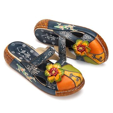 SOCOFY Vintage Colorful Leather Hollow Out Backless Flower Shoes in Blue