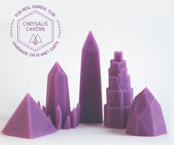 Purple Lavender scented Chrysalis Cavern Beeswax Candles Complete set // 5 Crystal Candles // Quartz