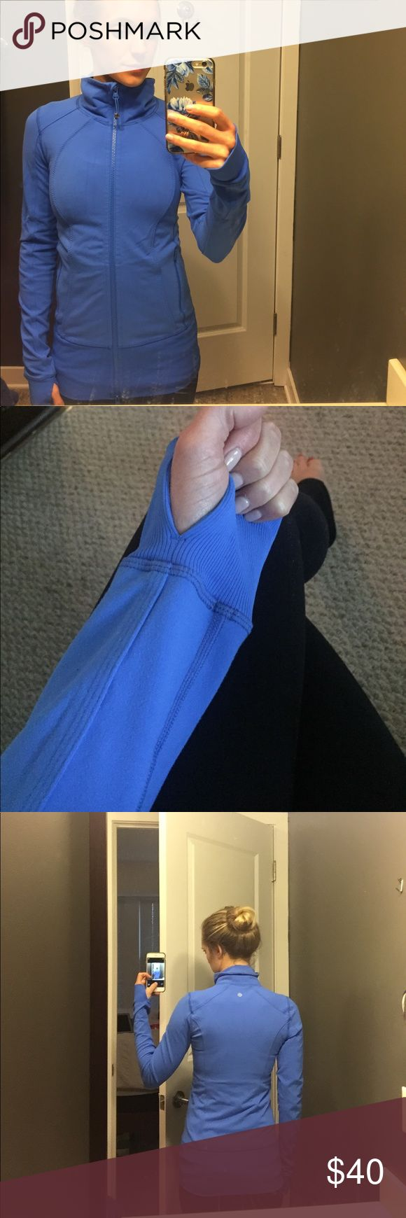 """Lululemon jacket Blue zip up jacket, no hood. I can't remember what the official name of this jacket is, but it is about 4 years old. It is thicker and longer than the Lululemon """"Define"""" jacket but has similar detailing (but no arch-type seaming on the back like """"Define) and also has a thick elastic band on the bottom. I am 5'6"""" and can pull it down over my bum. The zipper comes up from the bottom as well so you can zip it up both ways if you like. Excellent condition! lululemon athletica…"""