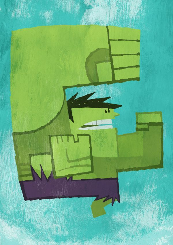 Abstracted Superheroes by Jonathan Edwards Hulk Abstracted Superheroes