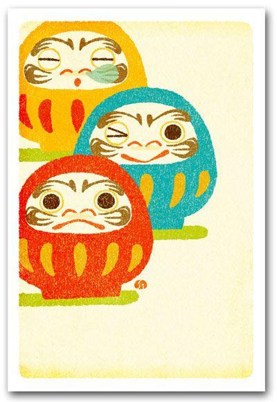 【ポストカード】版画風・染絵風・切り絵の絵葉書・しろたえ和風イラスト