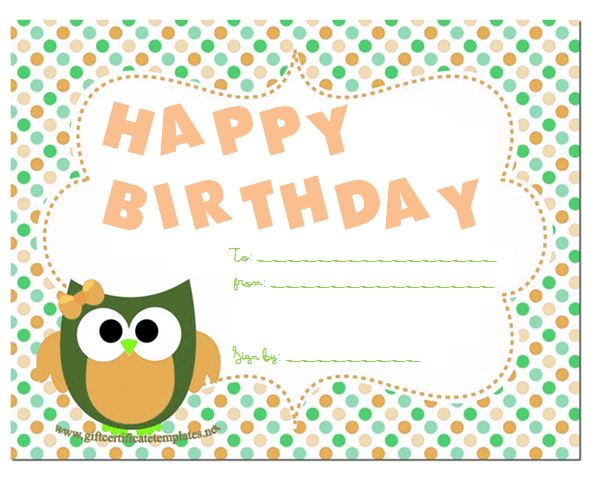 13 best gift certificates images on Pinterest Free gift - happy birthday certificate templates