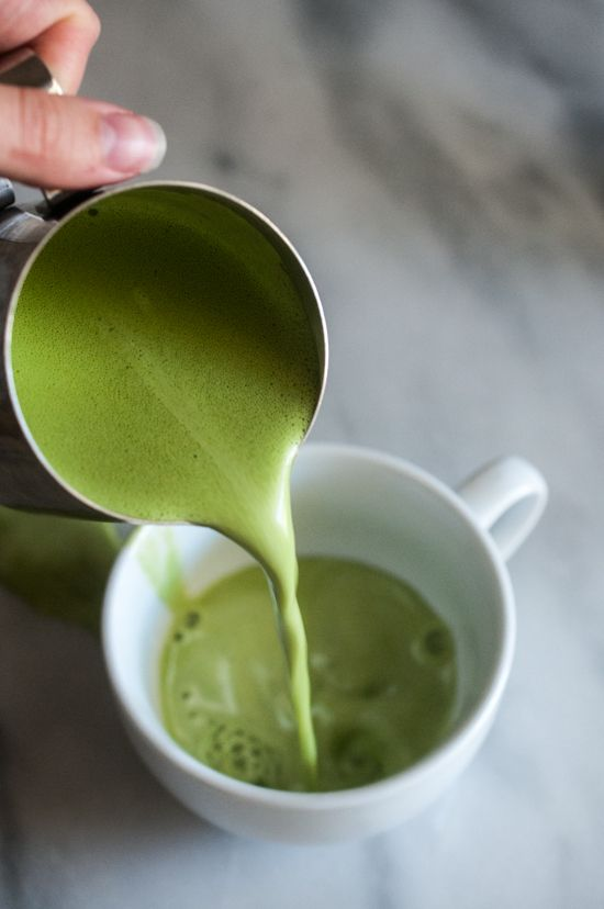 Matcha Jasmine Tea Latte - good with unsweetened coconut milk. Omit oil and collagen. Shake in a jar.