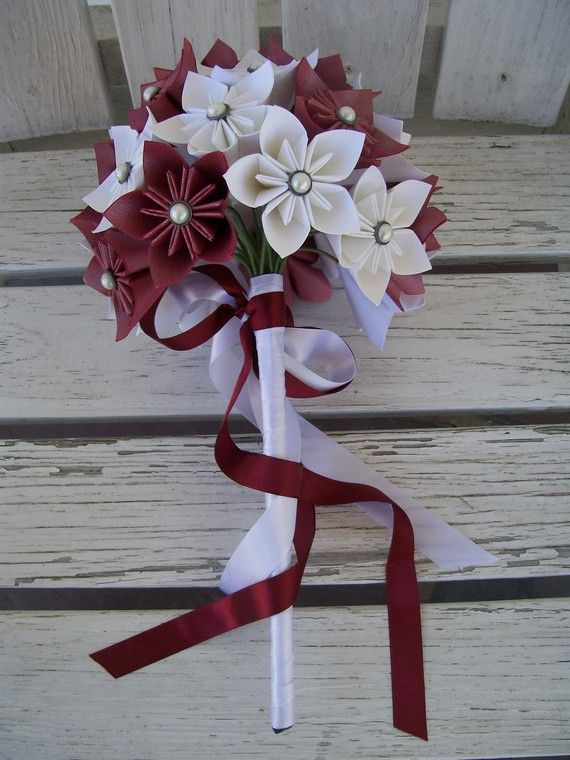 Deep Pink and White  Custom Bridal Bouquet  Paper by PoshStudios, $75.00