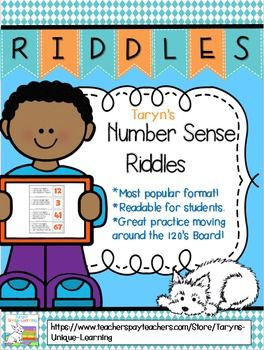 "Same format as featured in the TPT Newsletter with over 16,000 downloads! !  My very popular ""riddle"" format is now available for ""Number Sense"".  Simply read 3 clues to your students and they have to infer what the answer is.  Many different skills are covered with this product. Stop by my store and take a peek!"