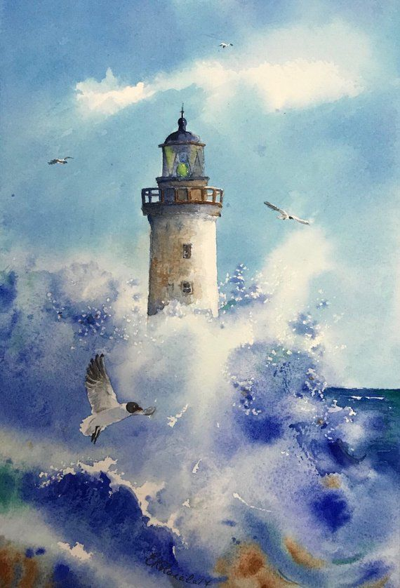 Lighthouse Print Art Watercolor Gift Wall Art Seascape Print Print