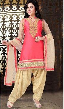 Pink Color Chanderi Silk Straight Cut Readymade Punjabi Patiyala Suit | FH512878080  #punjabi , #patiyala, #shindhi, #suits, #narrow, #dresses, #salwar, #kameez, #straight, #long, #heenastyle, #indian, #online, #shopping, #clothing, #womens, #girls, #style, #mode, #henna, #hina, #mehendi, #dupatta, #chudidar, @heenastyle , #pakistani, #readymade