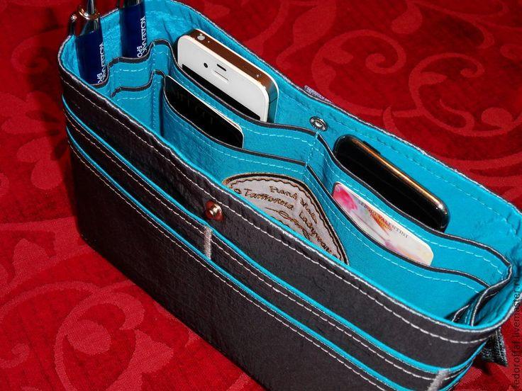 """Купить Органайзер для сумки """"Серый с бирюзовым"""" - органайзер, Органайзер для сумки, тинтамар, косметичка, маленькая сумочка"""