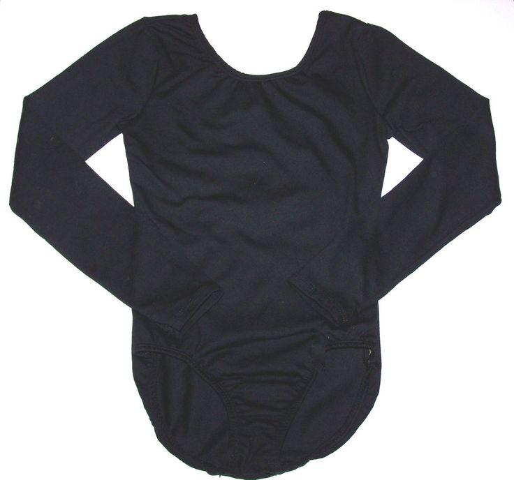 NWT New Curtain Call Leotard Leo Long Sleeves Front Lining Black Nice Cute Girl #CurtainCall