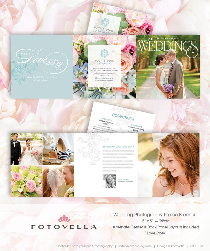 Wedding photography 5x5 trifold brochure template love for Wedding photography brochure template