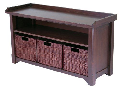 Winsome Wood MilanWood Storage Bench in Antique Walnut Finish with Storage Shelf and 3 Rattan Baskets in Espresso Finish Winsome Wood http://smile.amazon.com/dp/B002SSUKUC/ref=cm_sw_r_pi_dp_9DB8tb1C35SR0