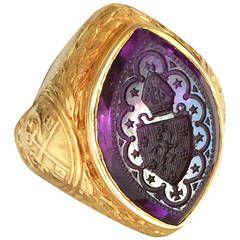 Victorian Amethyst Gold Bishop's Ring