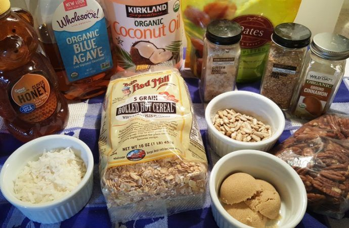 Cast of Ingredients for Homemade Orange Ginger Pecan Granola Image