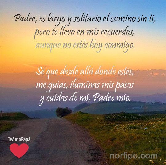 Sé que desde allá donde estés, me guías, iluminas mis pasos y velas por mí, Padre mío