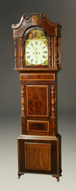 """Mid 19th century English """"wide body"""" tall case clock with hand painted pastoral scene on dial, circa 1850. #antique #clock"""