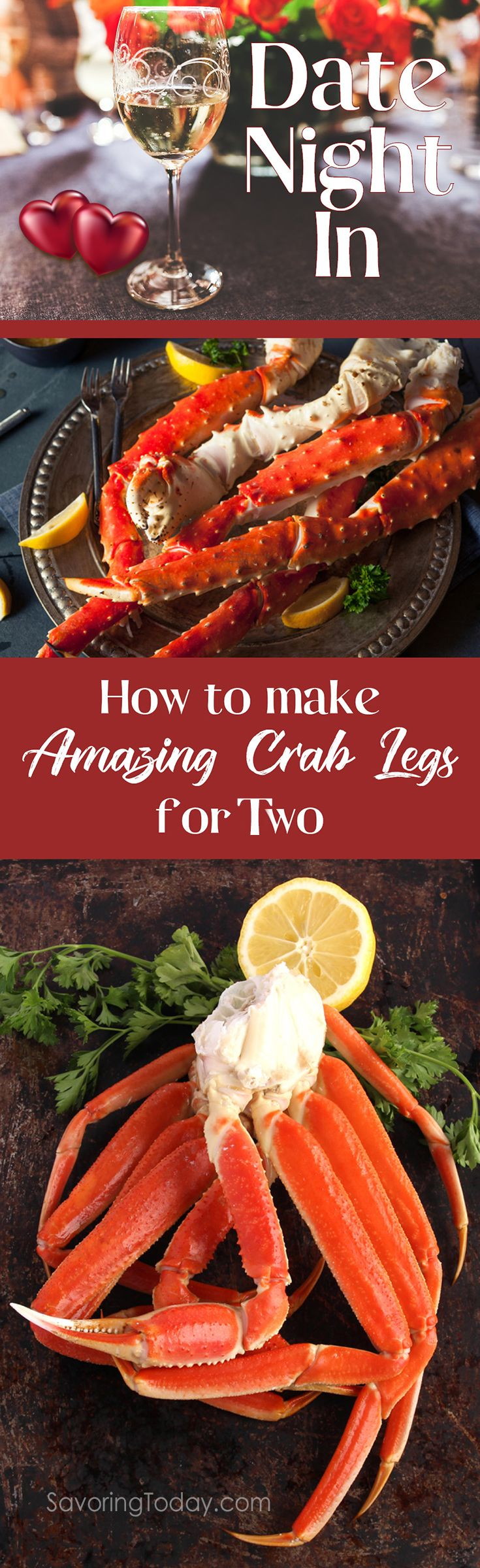 Create a memorable date night in with these tips and recipe suggestions for an Amazing Crab Legs Dinner for Two. Save time and money by making crab legs at home with helpful tips for buying, cooking, and cracking king or snow crab. Includes recommended side dishes and desserts too!