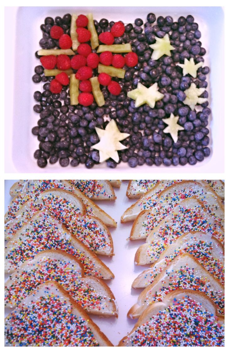 """It was hard to think of a snack for September, but we settled on this since his class has been learning about Australia.  The combination of healthy fruits and not so healthy """"fairy bread"""" was a big hit.   The fruit flag is blueberries, raspberries, and honeydew melon.  I didn't have a 6 pointed star cookie cutter so that didn't go well.  Can you spot the 7 pointed star? The fairy bread is just white bread, butter, and sprinkles!  I hear it's a special tea time treat for children in…"""
