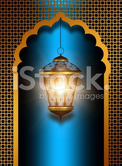 Błyszczący diwali Lampion na niebieskim tle ilustracje typu royalty-free