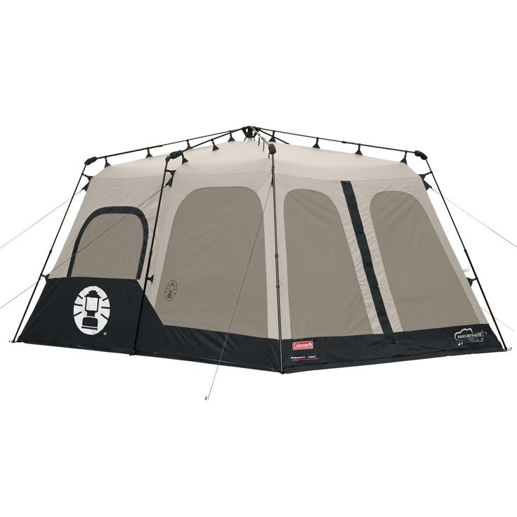 Coleman Instant 8 Person Tent, Black, 14x10-Feet. Spacious 8-person, 2-room tent designed for quick assembly. Poles come pre-attached to tent, ensuring setup in 1 minute or less. Exclusive Weather Tec system with thick waterproof walls and welded floor. 2 doors and 7 windows for full ventilation; removable divider between rooms. Base measures 14 by 10 feet; center height of 6 feet 5 inches; 1-year warranty.