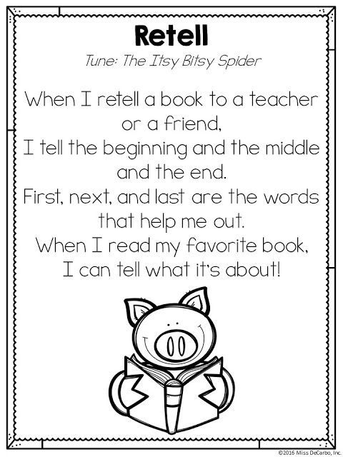 Free Retelling Song Printable Poem :) By Miss DeCarbo