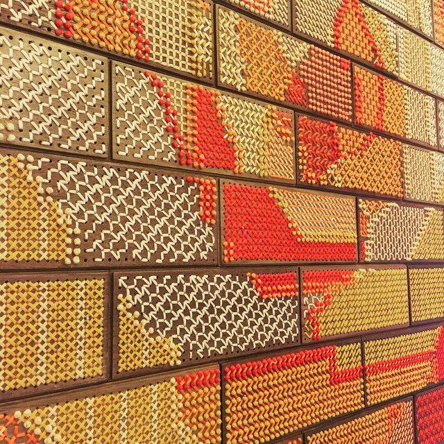 Embroidered wooden wall- stitch details #texture #handembroidered #handmade #madeinindia #surfaces #design #interiors #rooshadshroff