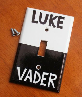 star wars DIY light switch... We might need to make this for our room...