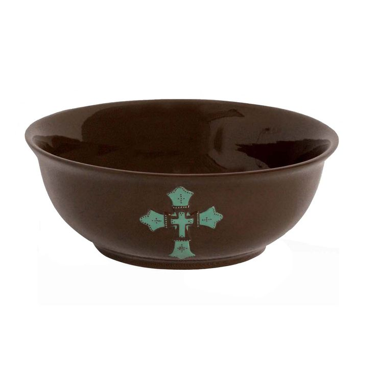 Turquoise Cross Serving Bowl