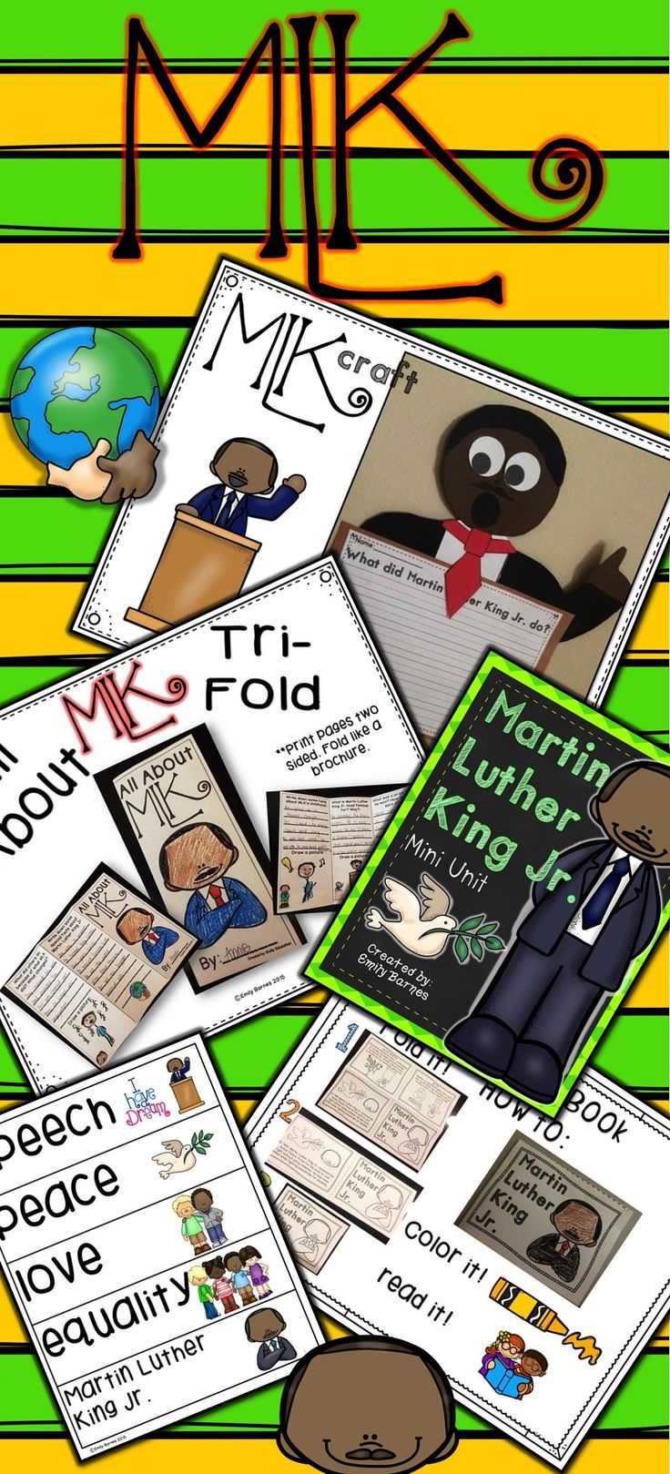 Martin Luther King Jr. Activities! MLK Craft. Writing Pages. Easy Reader. Student Tri-Fold. MLK Chant and More!
