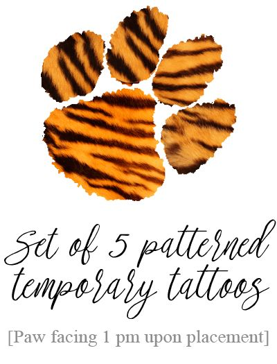 PRE-ORDER TODAY! Tiger Paw Inspired Temporary Tattoo - Tiger Stripe Pattern…