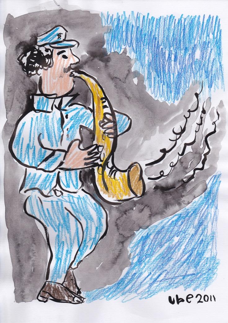 blue and jazz, tinta cina dan pensil warna di atas kertas A4, 2011. (ube)
